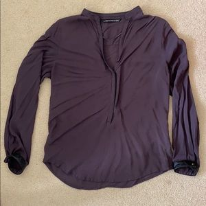 Zara blouse leather piping